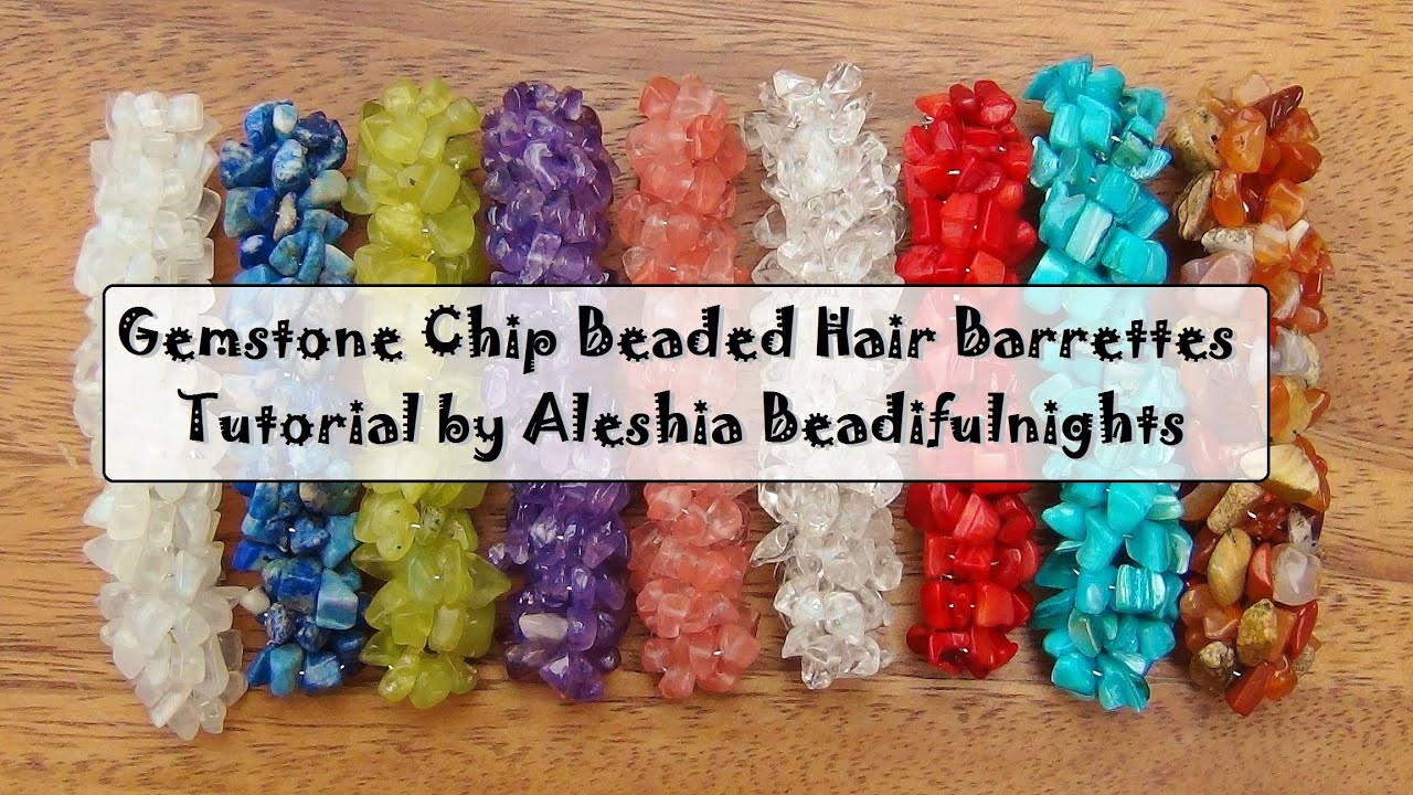 Gemstone Chip Beaded Hair Barrettes Tutorial - YouTube  Real