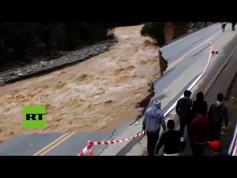 Perú: Fuertes inundaciones destrozan la Carretera Central