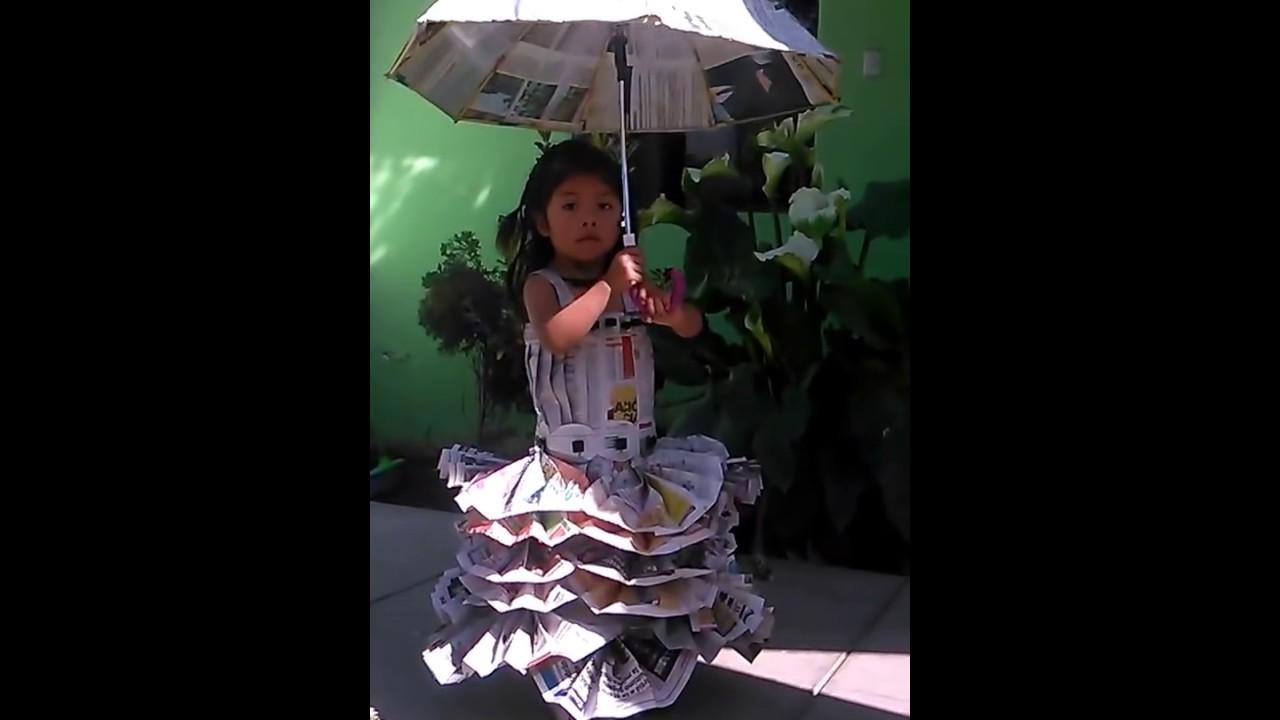 3c26e1ef3c Vestido de periódico niña - YouTube
