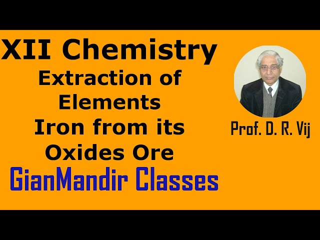 XII Chemistry | Extraction of Elements  | Iron from its Oxides Ore by Gaurav Sir