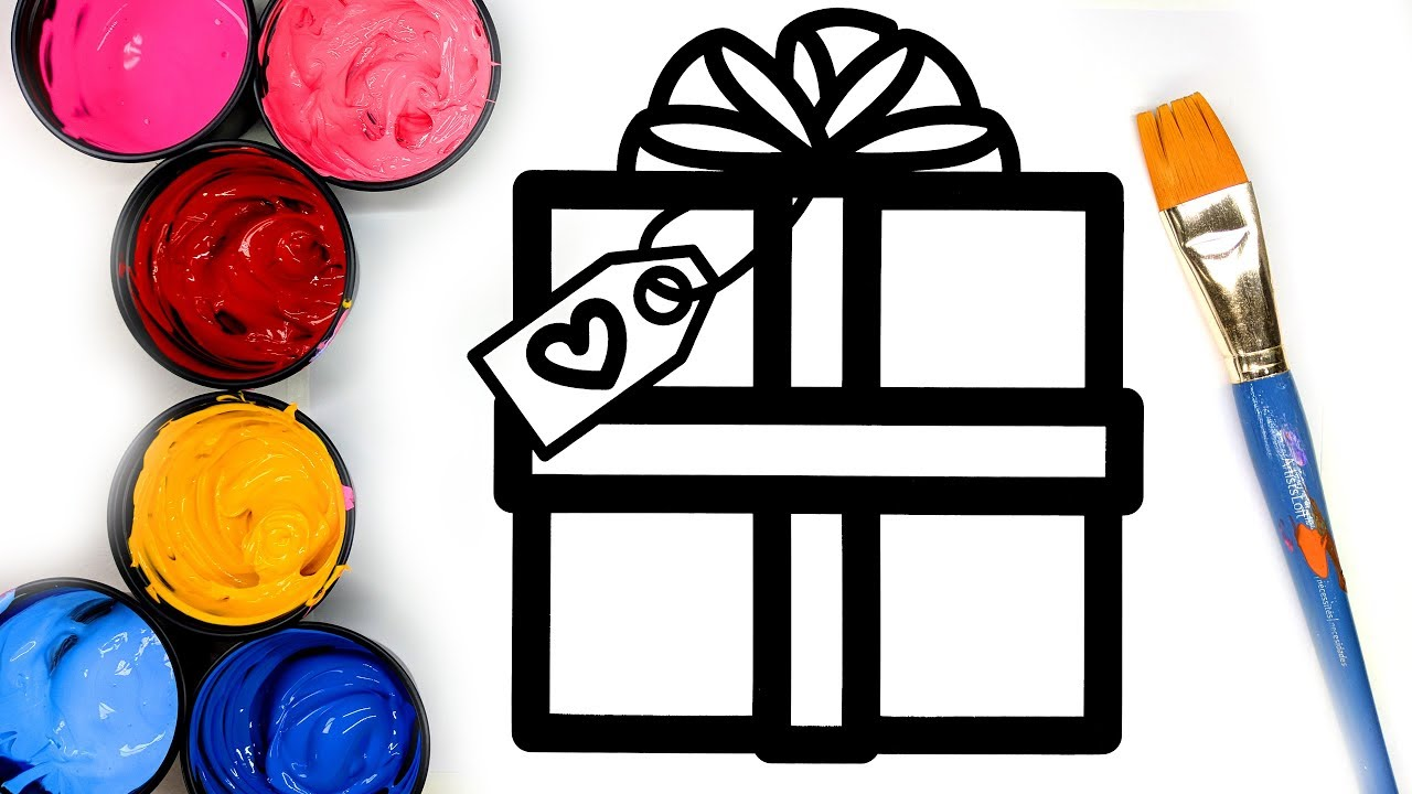 Painting Simple Christmas Present Coloring Pages with Paint, Learn ...