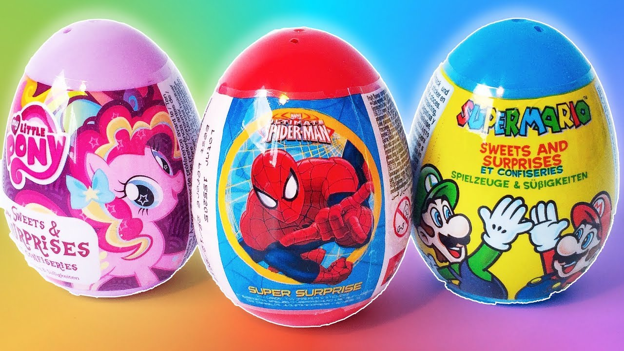 Funny Surprise Eggs Toys Spiderman My little Pony Super Mario Eggs Surprise for Kids
