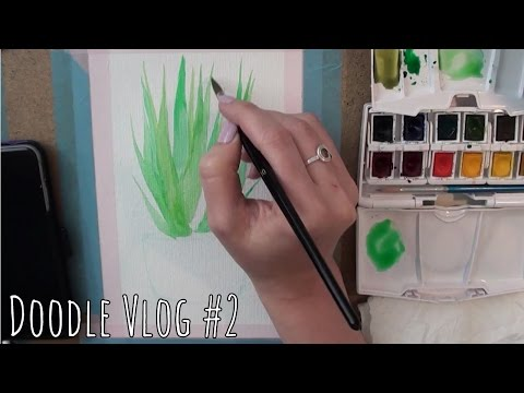Aloe vera watercolor - Doodle Vlog #2 | Watercolor speed paint
