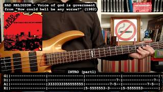 BAD RELIGION - Voice of God is government (bass cover w/ Tabs) [full HD]