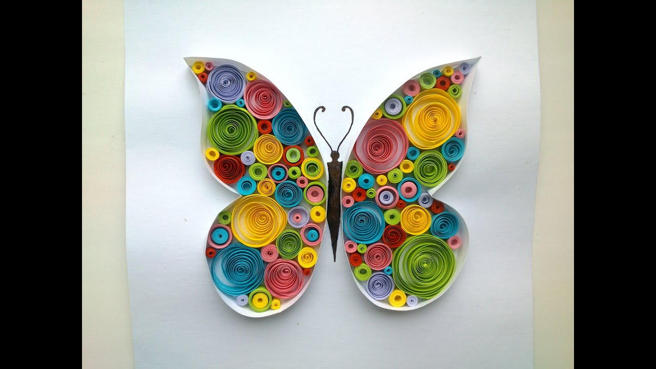 Paper quilling butterfly quilling tutorial doovi for Paper quilling paper