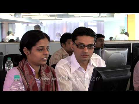 Stock brokers at the Bombay Stock Exchange