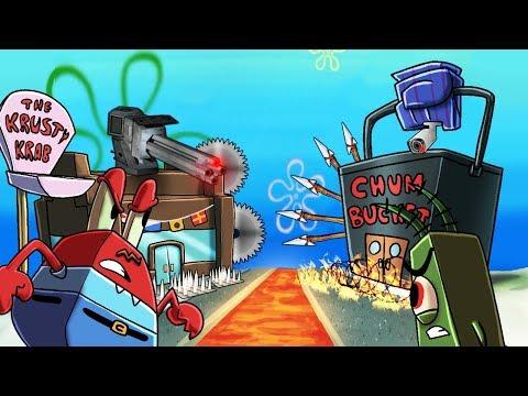 Minecraft   SECURE BASE CHALLENGE - Krusty Krab vs Chum Bucket! (Spongebob Base)