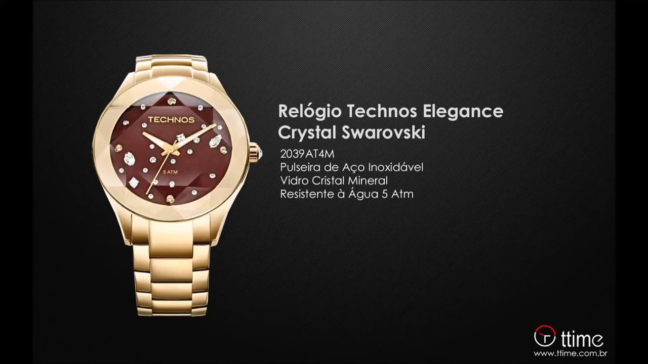 RELÓGIO TECHNOS ELEGANCE CRYSTAL SWAROVSKI 2039AT 4M - YouTube a8fa0e781c