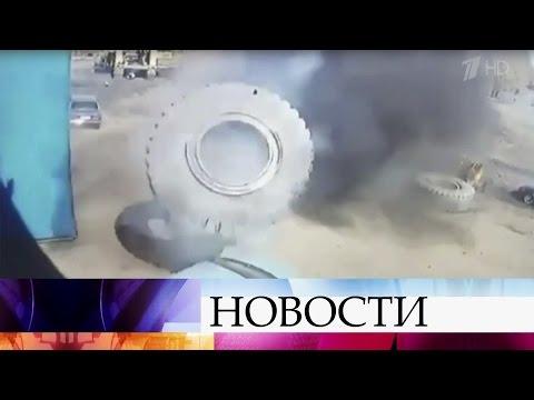 Многотонное колесо буквально расплющило легковушку вКемеровской области.