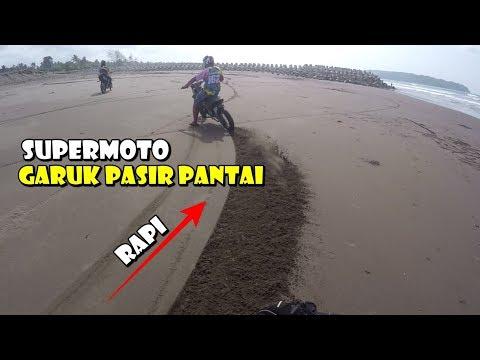 Terjebak Di Pasir Pantai Berat Banget Motor - Supermoto Garuk Pantai