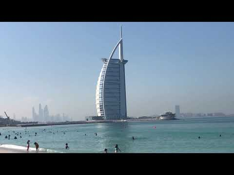 Umm Suqeim Beach On a December morning in Dubai, with a backdrop of the magnificent Burj Al Arab