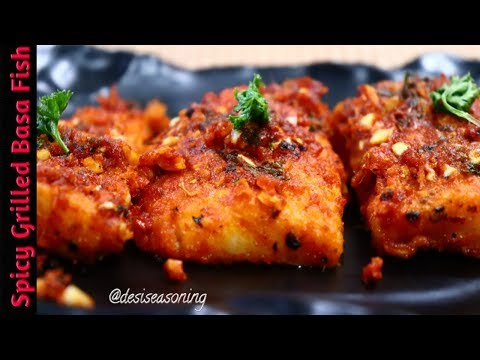 New Year Special Spicy Grilled Basa Fillets II Baked Sea Bass II Party Snacks Recipe