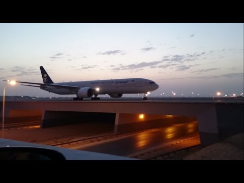 Crossing 3 Flights On Bridge at Riyadh Airport Awesome View