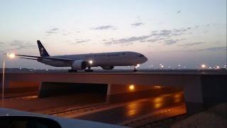 crossing 3 flights on bridge at riyadh airport awesome view