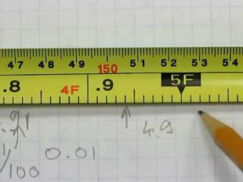 Read an engineers` tape measure (in decimal feet) - YouTube