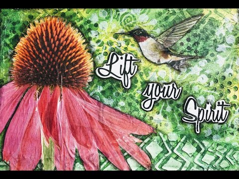 5 Step Art Journal Page- Lift Your Spirit- DIY Tissue Paper Used- in real time