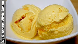 Mango Ice Cream With 3 Ingredients - Homemade Mango Ice Cream Recipe - Kitchen With Amna