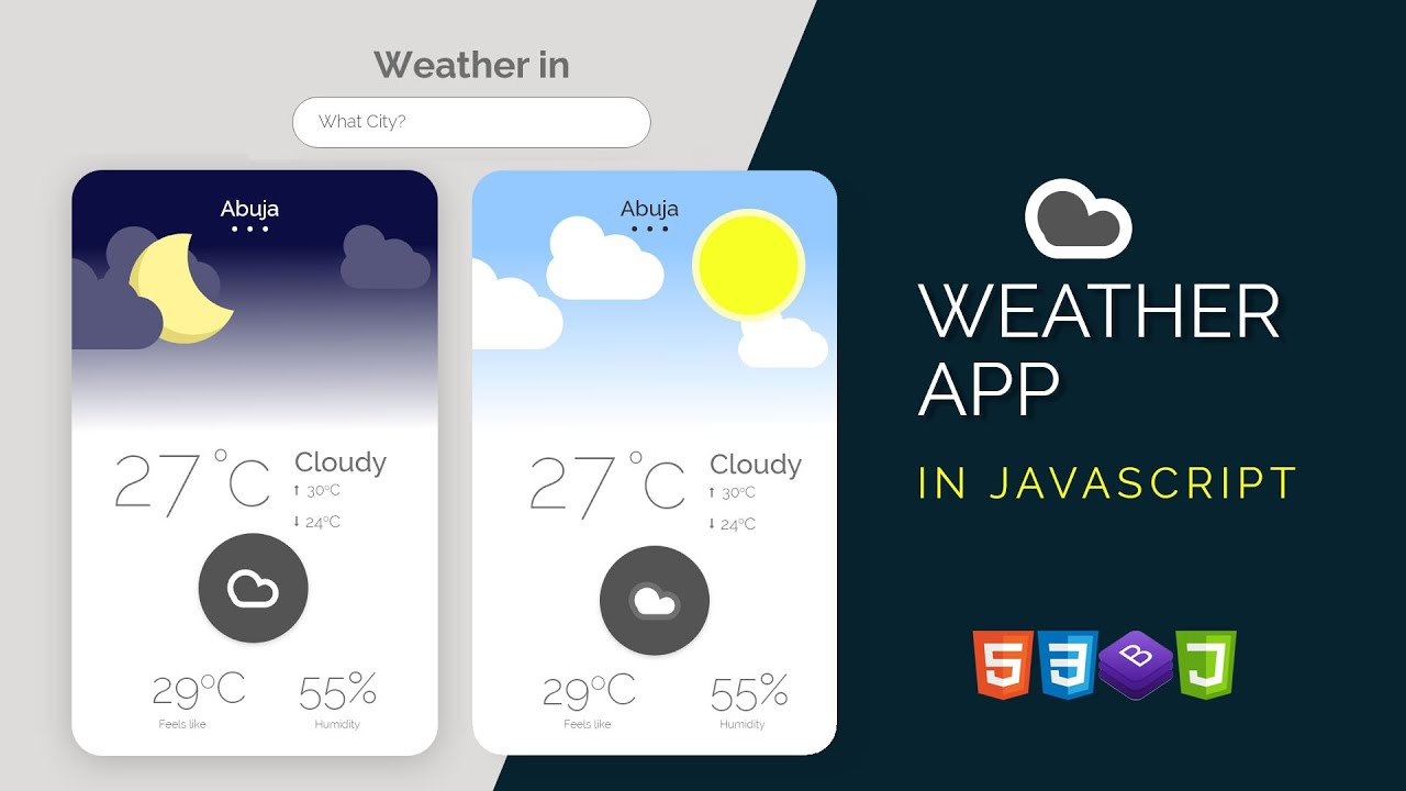 Build Weather App with HTML, CSS, Bootstrap & Modern Javascript