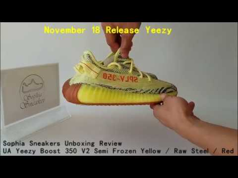 53ca963bd44a9 Newest Yeezy Unboxing Review UA Yeezy Boost 350 V2 Semi Frozen Yellow Raw  Steel Red