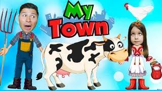 Домашние животные на ферме у ДЕДУШКИ Симулятор семьи в игре для детей My Town Farm KIDS CHILDREN