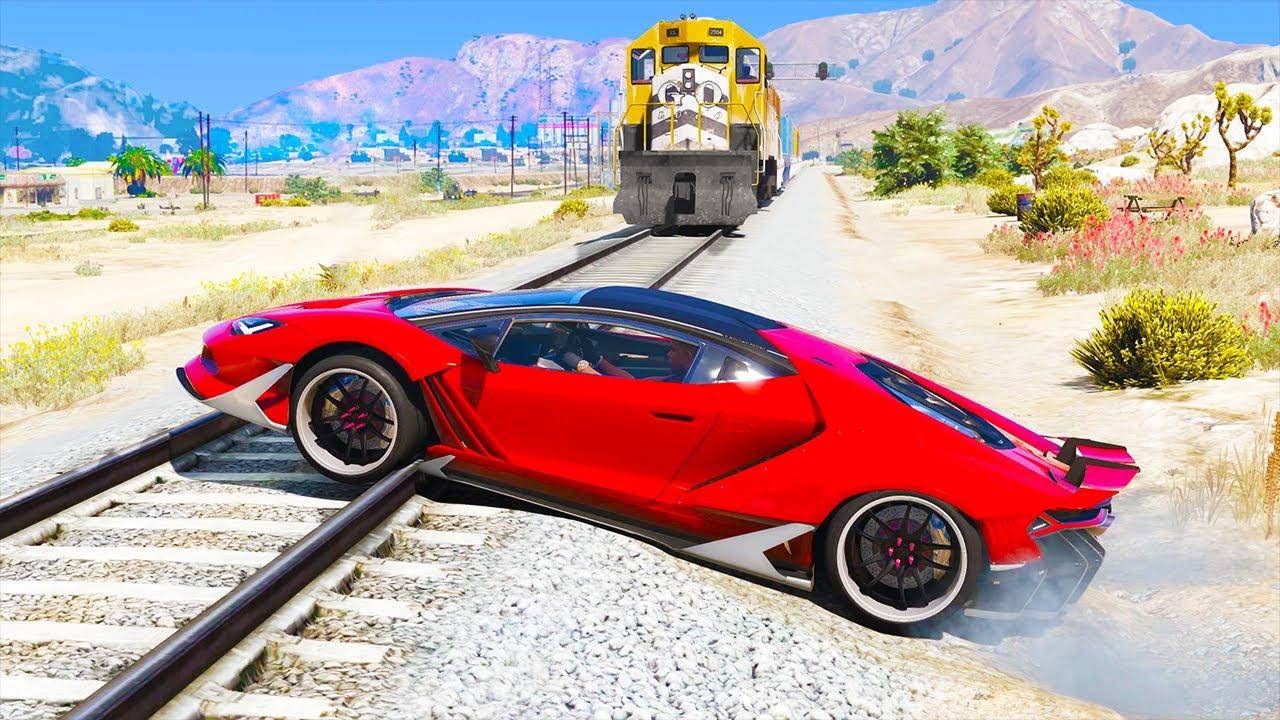 Cars vs Train In GTA 5