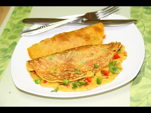 Classic Besan Veggie Video Recipe | No Eggs Omelette | Vegan Chickpea Flour Omelette