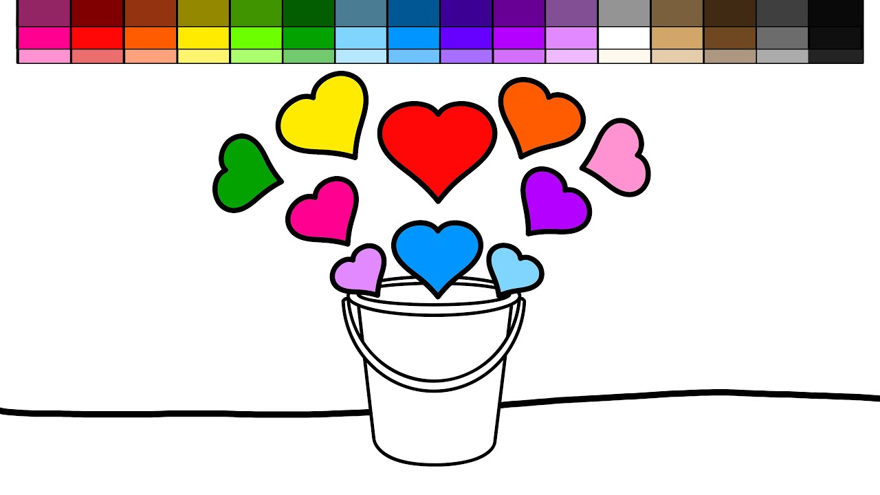 learn colors for kids and color bucket of hearts coloring pages