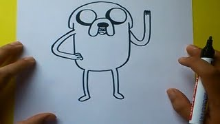 Como dibujar a Jake con cuerpo paso a paso - Hora de aventuras | How to draw Jake - Adventure time