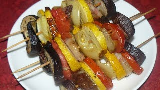 Обалденный овощной шашлык в духовке. Сезонный рецепт.