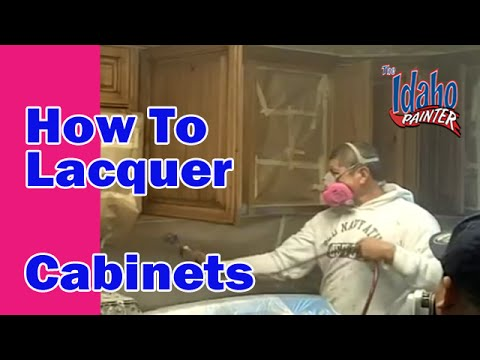 How To Lacquer Cabinets.  Spraying Lacquer On Cabinets (airless sprayer)