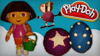 peppa pig rainbow kinder surprise eggs in play doh / playdough & dora the explorer
