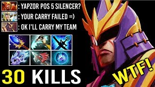 EPIC Sh*t POS 5 TO CARRY ALL 500 IQ Yapzor GOD 9k Silencer 2 Hit Kill Most Crazy Game 7.22 Dota 2
