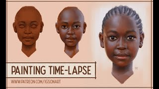 Gambian girl digital painting portrait time-lapse by IgsonArt (Iga Oliwiak)