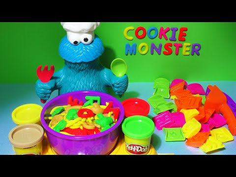 Play-Doh Cookie Monster Letter Lunch Learn To Read ABC Alphabet Kids Food Play Dough Playdoh