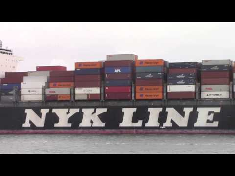 Container Ship NYK OCEANUS departing from the Port of Rotterdam, NL (June 23, 2015)