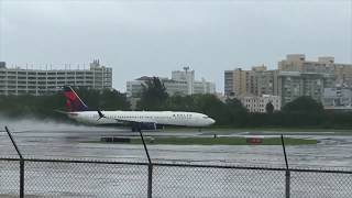 Delta Airlines flight takes off from Puerto Rico during Hurricane Irma