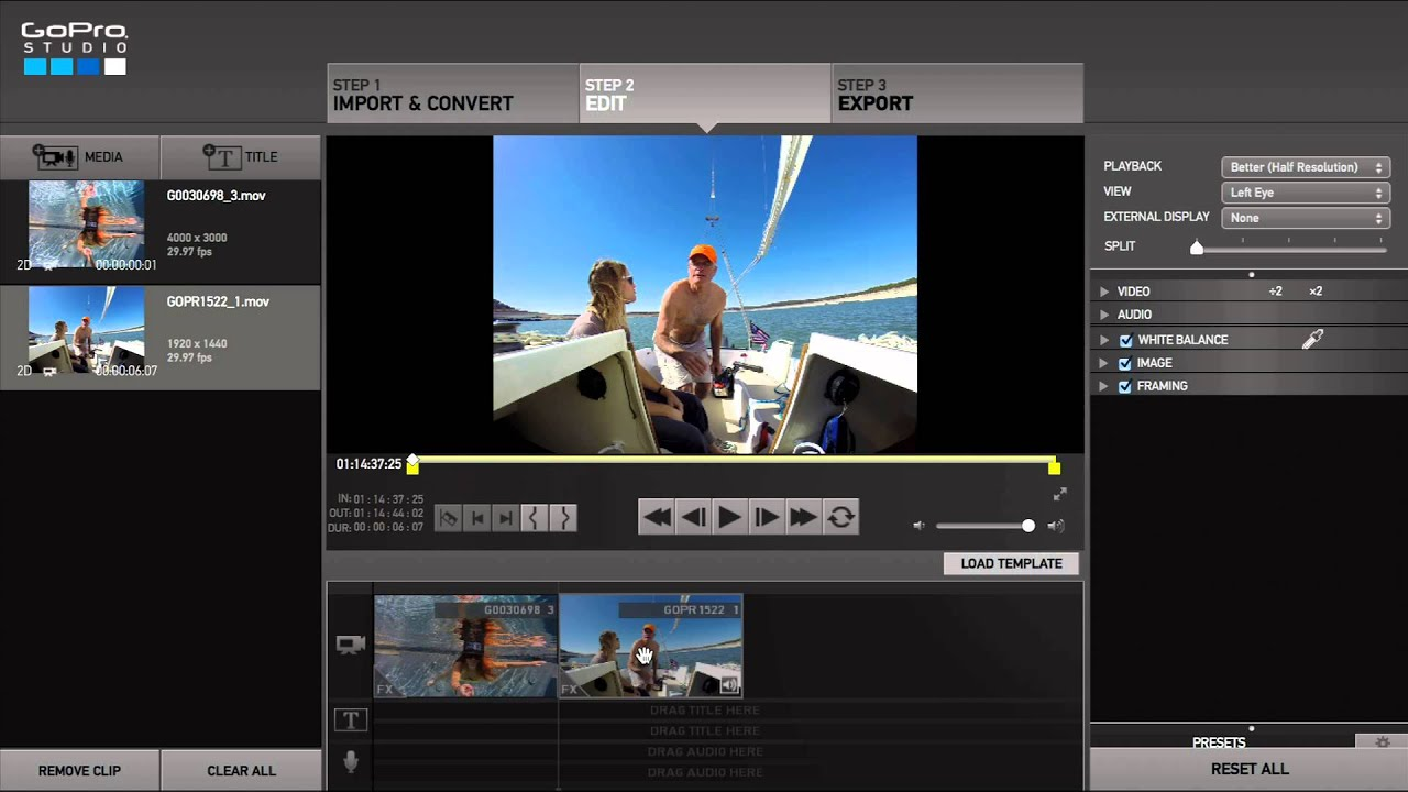 how to change transitions in gopro studio