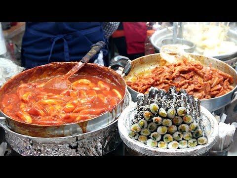 Korean street Food in kwangjangmarket - Bindaetteok, Tteok-bokki, Sundae, Gimbap and etc..
