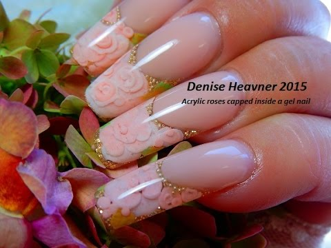 ACRYLIC ROSES CAPPED Inside GEL NAILS -------------TUTORIAL - YouTube