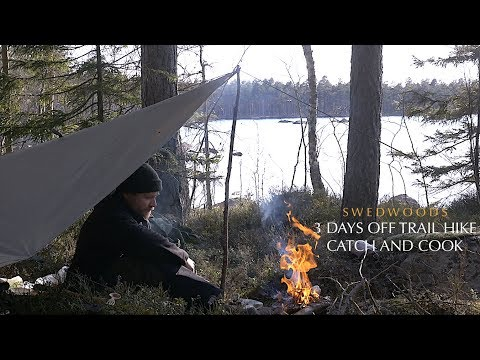 3 Days Bushcraft Solo Overnight - Catch And Cook Spit Roast Trout - Off Trail Hike