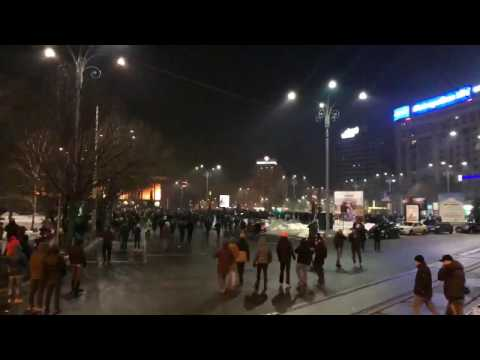 Romania BUCHAREST violent  protests against government