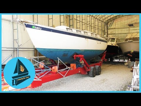 46. She's NAKED - Removing Everything on Deck Prior to Paint | Learning the Lines - DIY Sailing