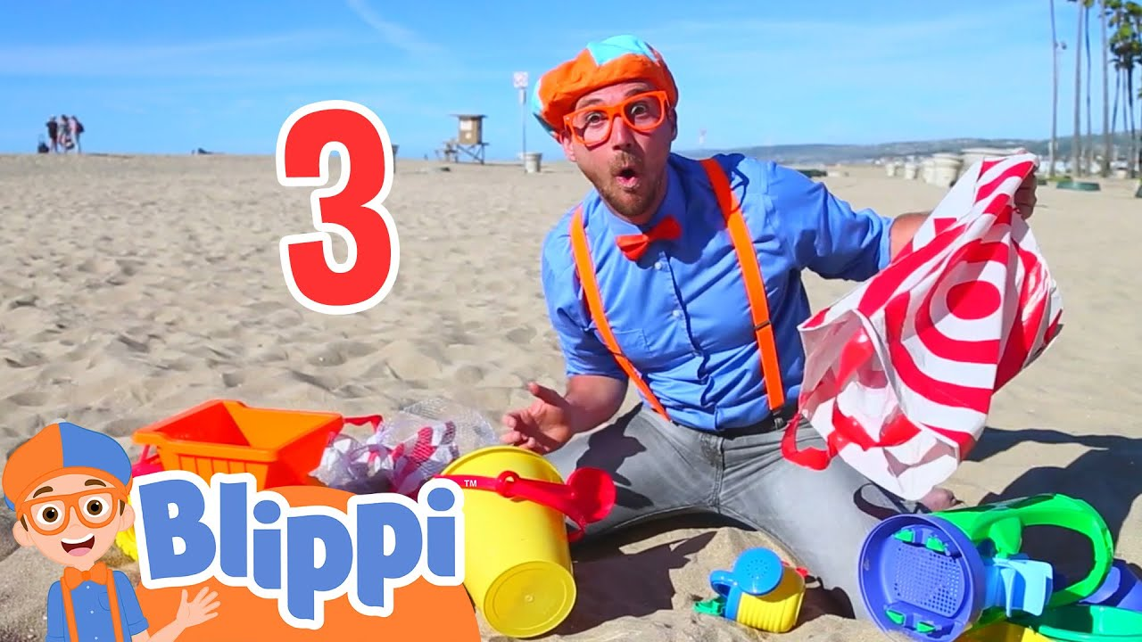 Blippi Visits The Beach And Learns Numbers Educational Videos For Kids Youtube