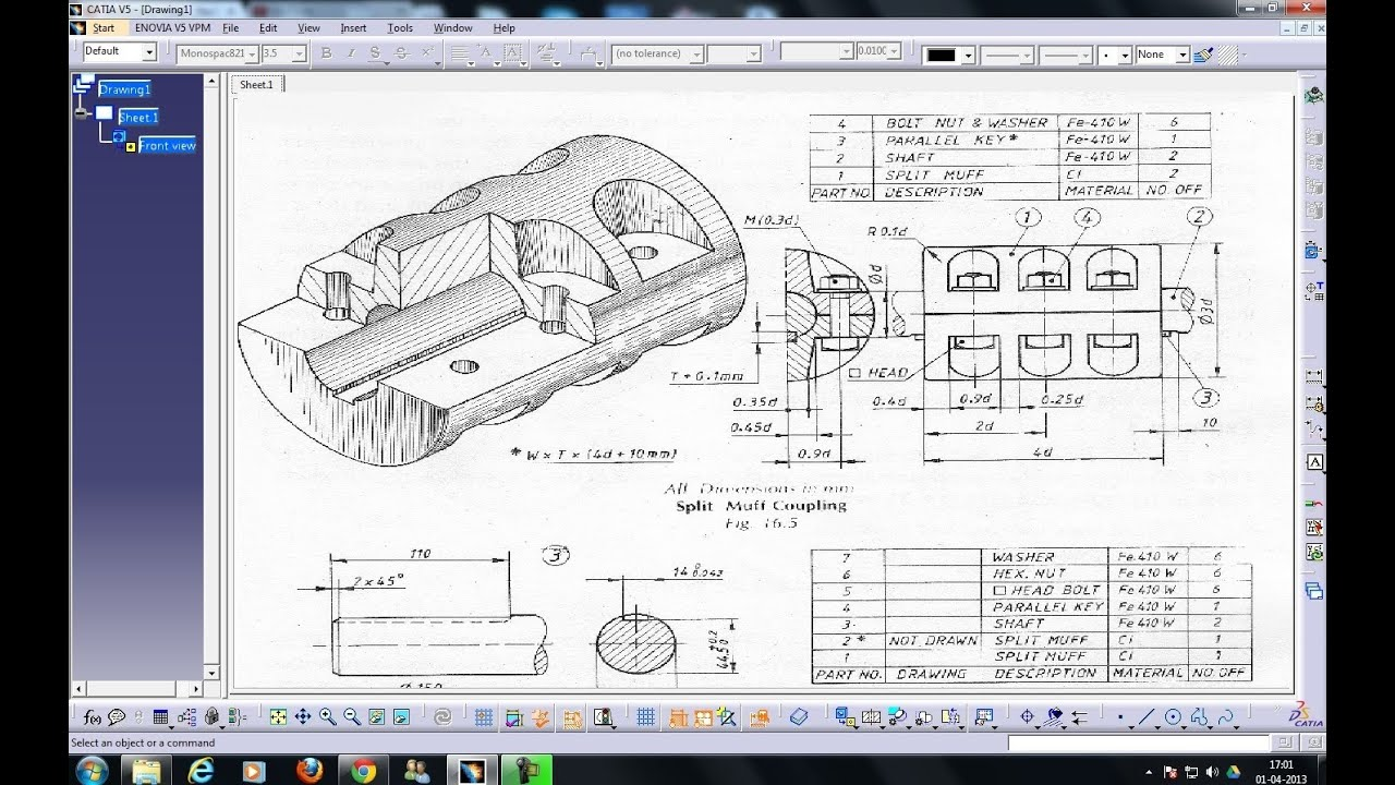 How To Draw Floor Plan In Autocad Catia V5 Drafting Individual View Isometric View Iso Amp 3rd