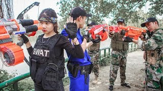 Game Nerf War : Winter Warriors Use Skill MEGA Nerf Guns | Fight Attack Bandits Crime