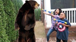 Repeat youtube video Bad Baby Bear Stalker ATTACKS Shasha and Shiloh - Onyx Kids