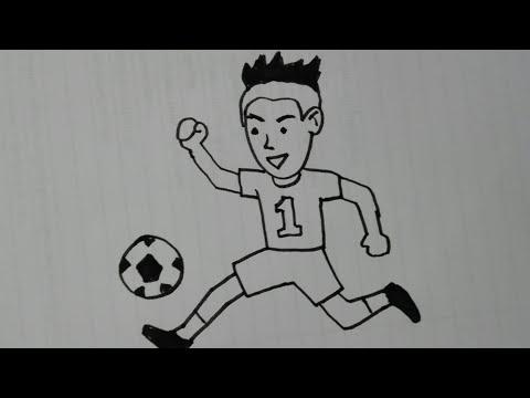 วาดรูป เล่นกีฬา ฟุตบอล ( นักเตะบอล ) drawing