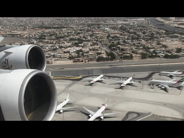 Emirates Airbus A380 Taxiing and BREATHTAKING Take Off from