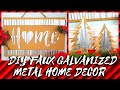 DIY RUSTIC FAUX GALVANIZED METAL WALL ART & CHRISTMAS DECOR || DOLLAR TREE