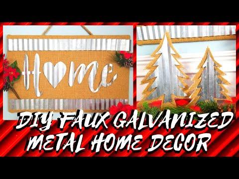 DIY RUSTIC FAUX GALVANIZED METAL WALL ART & CHRISTMAS DECOR || DOLLAR TREE